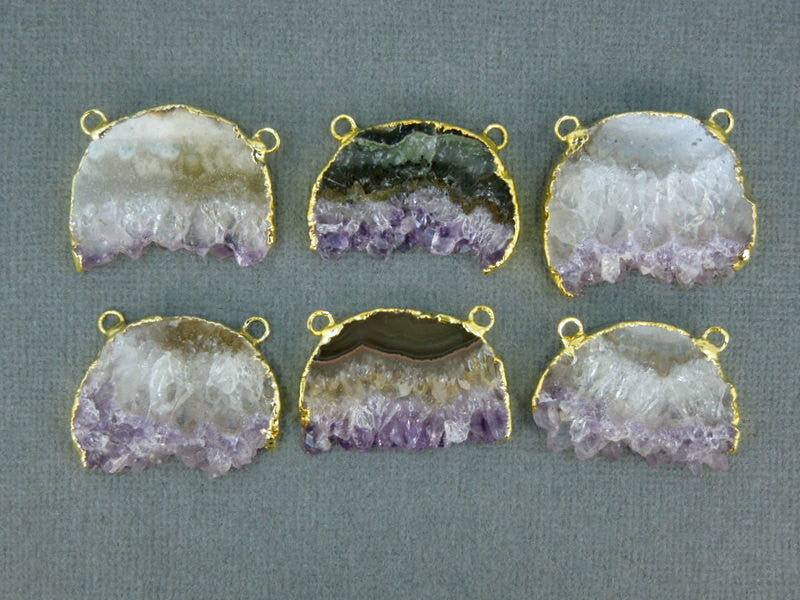 Amethyst Slice 24k gold electroplated edge and double bail Pendant - Handmade Druzy amethyst half-moon slice drusy pendant - ASP S1B9-02