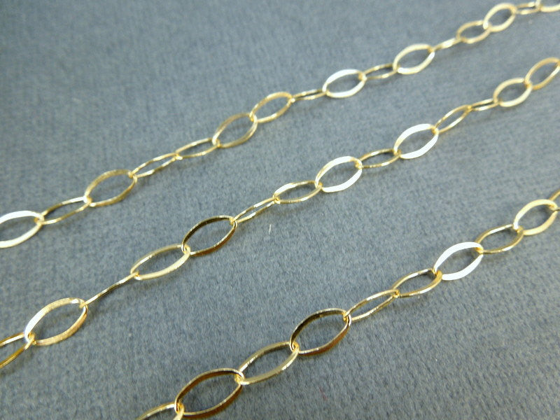 Gold Fill Chain - Gold Filled 8mm x 5mm Twisted Oval LInk Chain-- BY FOOT 791