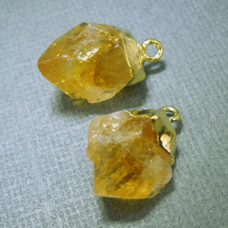 Citrine Petite Point Charm Pendants with Gold Plated Caps-- 1 PAIR (S20B2-02)