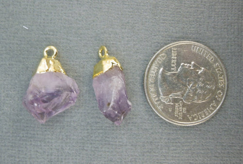 Amethyst Crystal Point Pendant-- Petite Amethyst Nugget Charms Pendants with Gold Plated Caps-- 1 PAIR (S20B2-05)