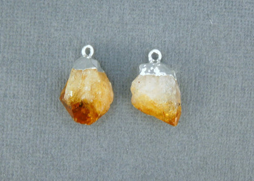 Citrine Point Pendant-- Petite Raw Citrine Charms Pendants with Silver Plated caps-- 1 PAIR (S20B2-06)