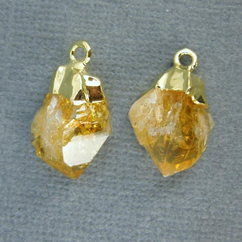 Citrine Point Pendant-- Petite Raw Citrine Charms Pendants with Gold Plated caps-- 1 PAIR (S20B2-02)