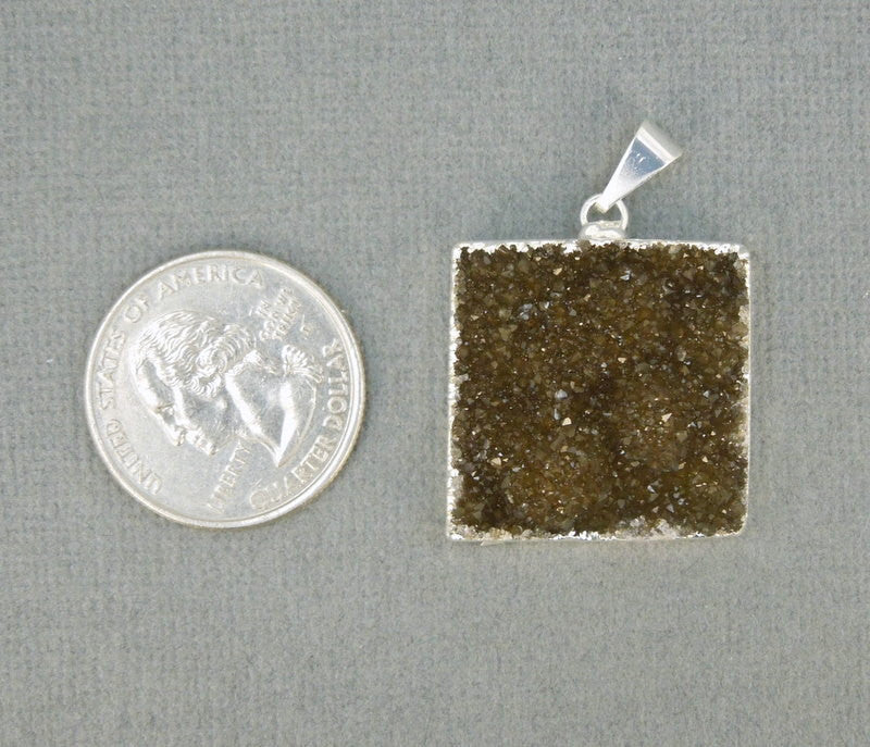 Druzy Square Pendant Electroplated Silver (S1B6-02)