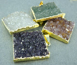 Druzy Large Square Pendant edged in 24k gold (S1B6-01)