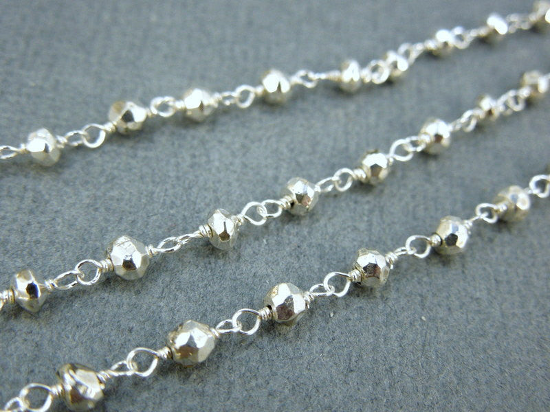Silver Pyrite Rosary Beaded Gemstone on Sterling Silver or Silver Plated Wire-Wrapped Chain (CHN-98)