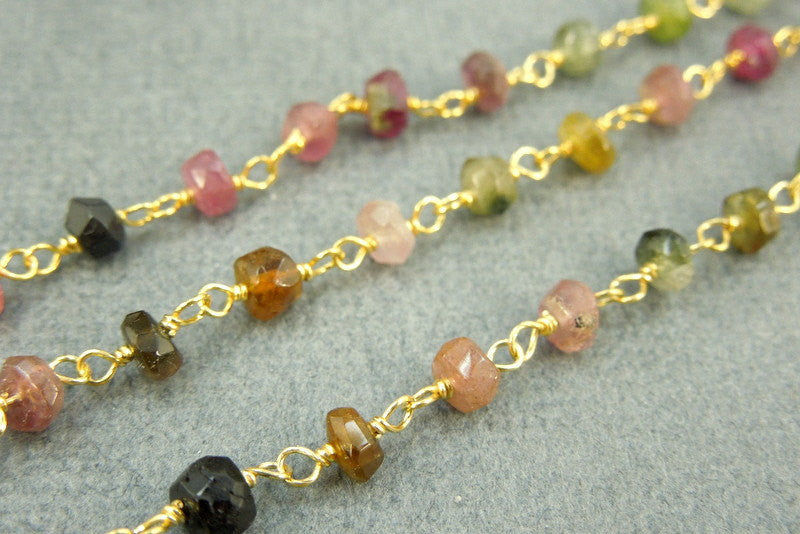 Tourmaline Wire Wrapped Chain - Rosary Style Chain - Tourmaline Gold Over Sterling or Gold Plated Wire Wrap (CHN-77)