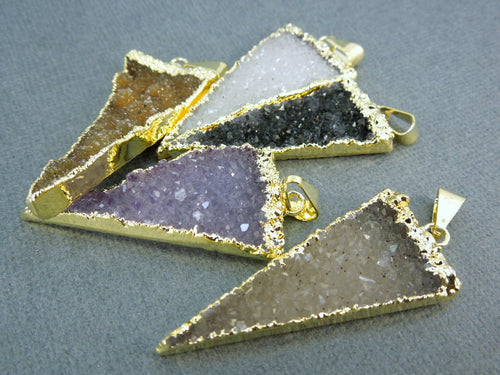 Druzy Triangle Pendant with 24k Gold Electroplated Edge (S1B7-10)