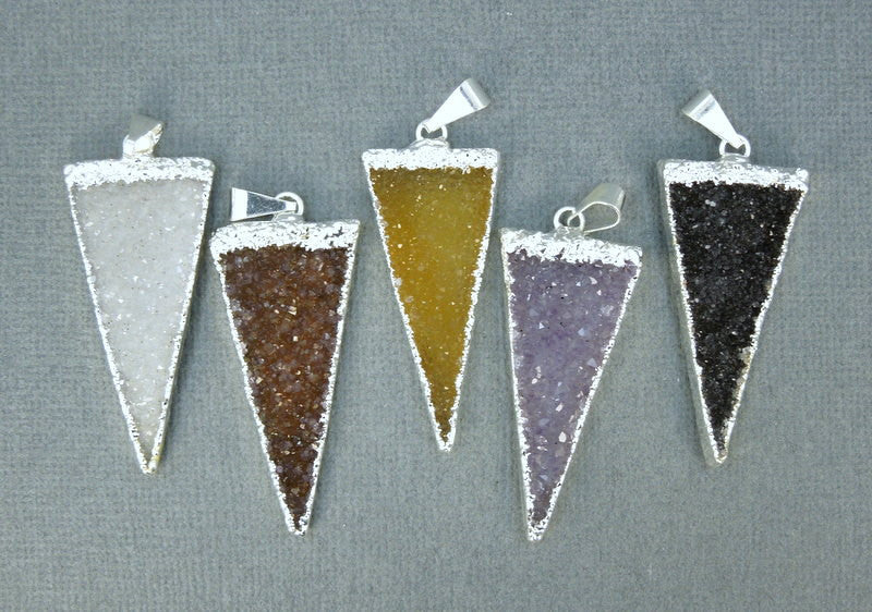 Druzy Triangle Pendant Charm with Silver Electroplated Edge (S1B7-04)