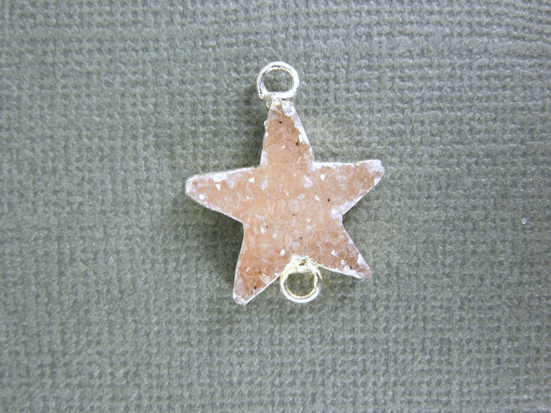 Druzy Druzzy Drusy Star Double Bail Charm with Sterling Silver Electroplated edge