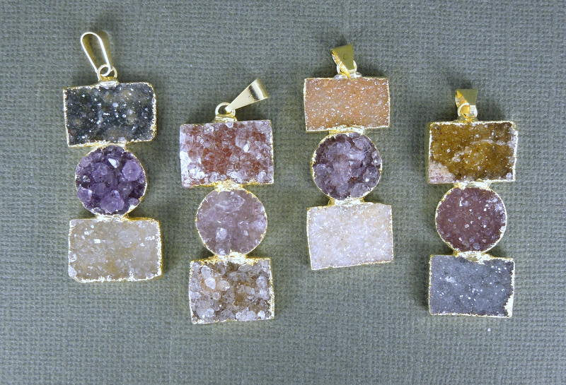 Druzy Pendant edged in 24k gold  EXCLUSIVE DESIGN  Just in Druzzy Drusy Druzy Circle and Rectangle Pendant (DZ-14)