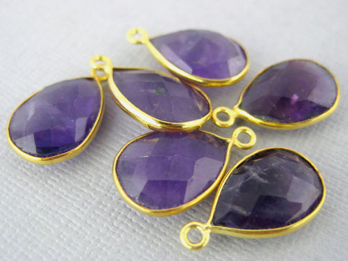 Amethyst Teardrop Station Charm Pendant- 9mm x 13mm Gold Vermeil Bezel Single Bail Charm Pendant