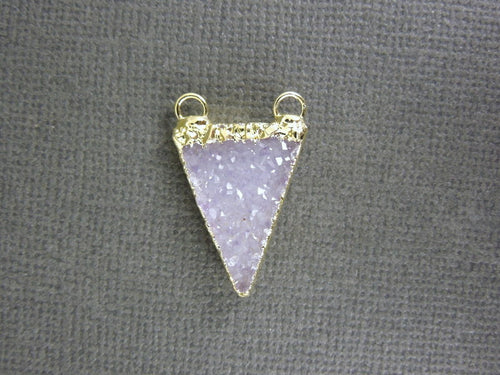 Druzy Druzzy Drusy Double Bail Petite Triangle Charm Pendant with 24k Gold Layered Edge