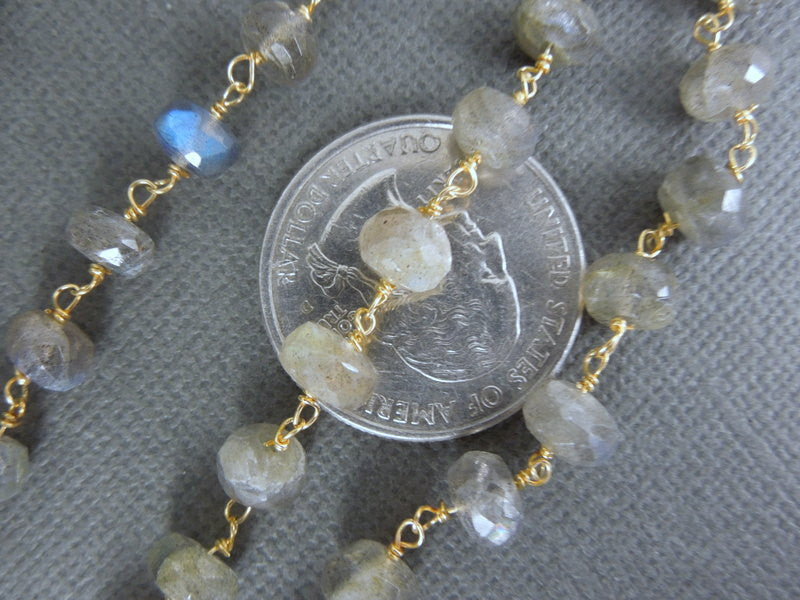 Labradorite on Gold plated Wire Wrapped Rosary style chain-- Larger Labradorite Beaded Chain