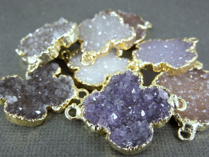 Druzy Clover Double Bail Connector Pendant with 24k Electroplated Gold Edge(S1B1-09)