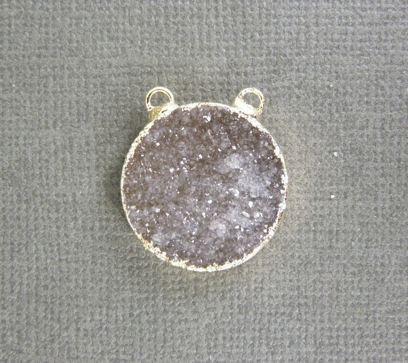Druzy Round Double Bail Connector Pendant with 24k Electroplated Gold Edge
