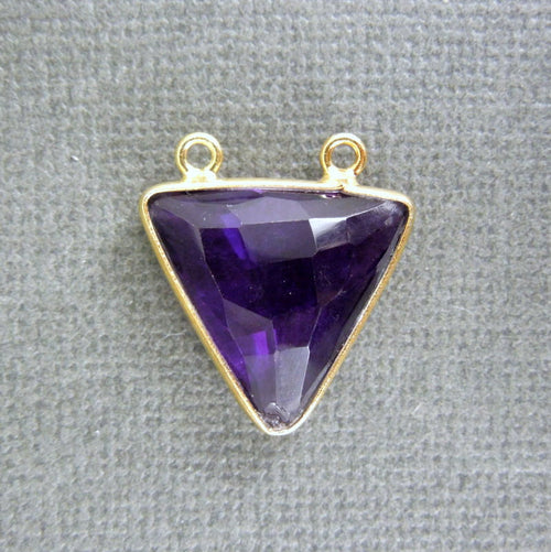 Amethyst Station Triangle Charm Pendant - 16mm Gold Vermeil Bezel Double Bail Gemstone Charm Pendant