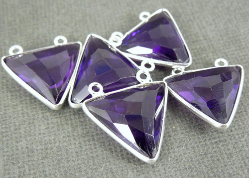 Amethyst Station Triangle Charm Pendant - 16mm Sterling Silver Bezel Double Bail Gemstone Charm Pendant