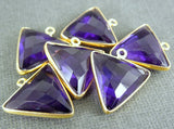 Amethyst Station Triangle Charm Pendant - 16mm Gold Over Sterling Bezel Gemstone Charm Pendant