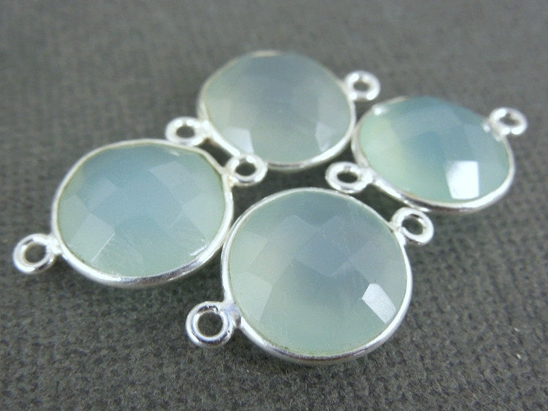 Aqua Blue Chalcedony Station Round Connector - 12mm Sterling Silver Bezel Link Double Bail Charm Pendant