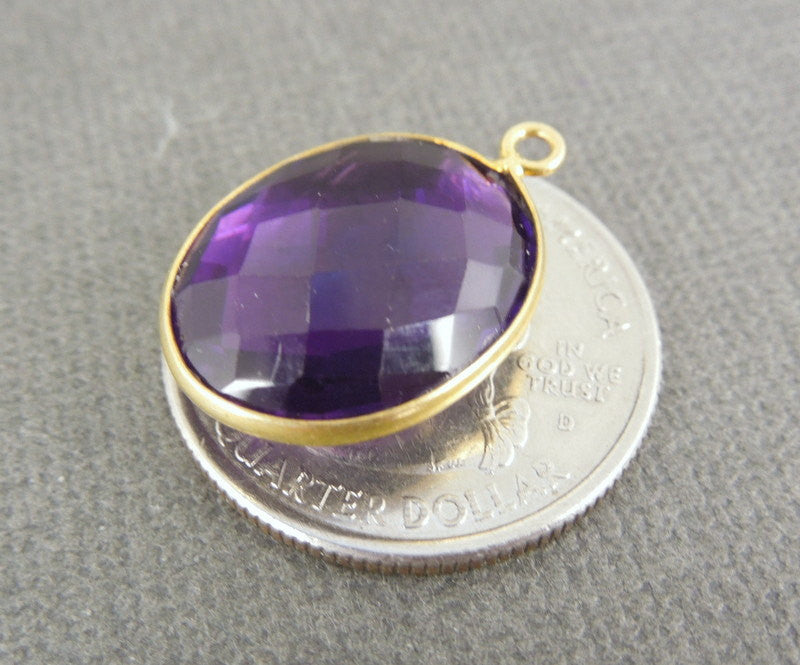 Amethyst Station Oval Pendant- 15mm x 18mm Gold Bezel Link - Single Bail Charm Pendant