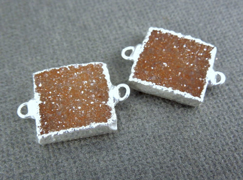 Druzy Petite Square Double Bail Connector Pendants with Silver Electroplated Edges - ONE PAIR  (S1B1-11)