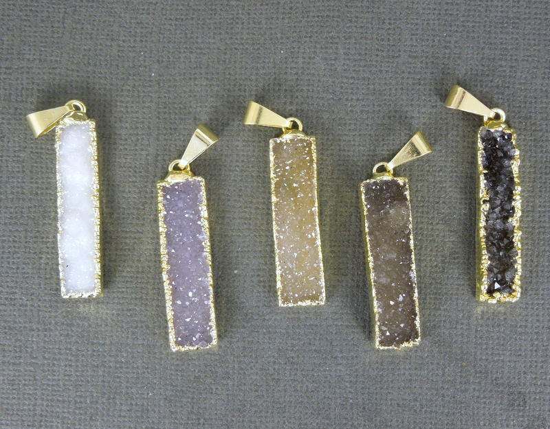 Druzy Rectangle Bar Pendant with 24k Gold Electroplated Edge (S1B3-04)