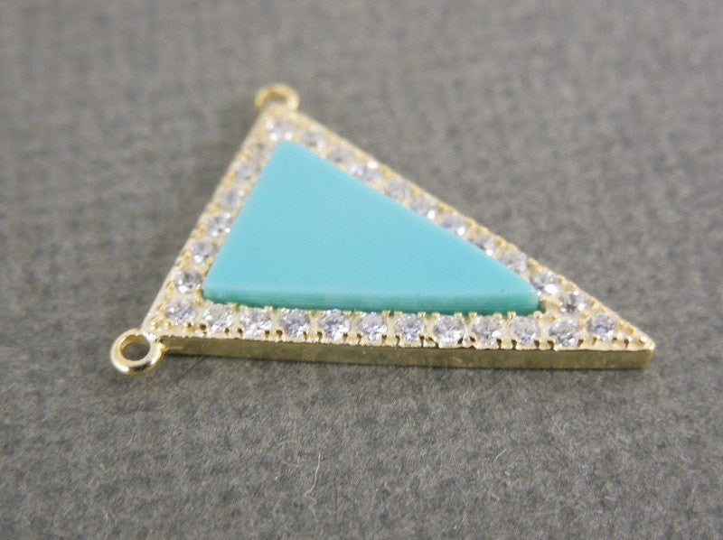 Turquoise Triangle Double Bail Charm Pendant set in a Gold Vermeil Bezel with Rhinestone Pave (LA-23)