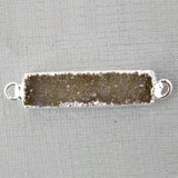 Druzy Rectangle Bar Double Bail Connector Pendant with Silver Electroplated Edge (S1B3-01)