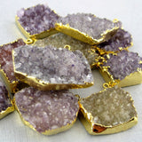 50% off HUGE Clearance Amethyst Druzy Druzzy Drusy Double Bail Freeform Pendant with 24k Gold Electroplated Edge (S1B15-01)