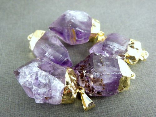 Amethyst Point Pendant - Raw Amethyst with gold plated cap - Bulk pack of 3  (S122B3)