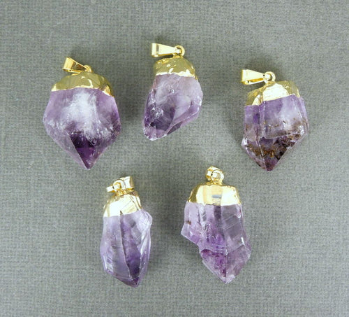 Amethyst Point Pendant - Raw Amethyst with gold electroplated cap (S122B3)