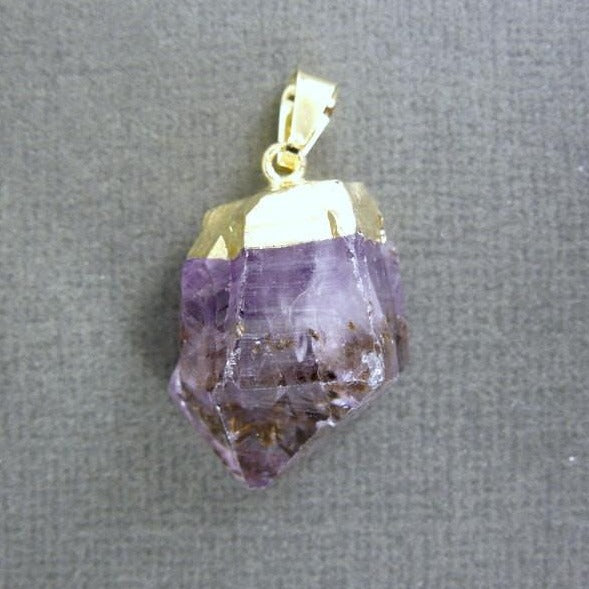 20pcs - Amethyst Point Pendant - Raw Amethyst with gold electroplated cap - BULK Lot of 20 (S122B3)