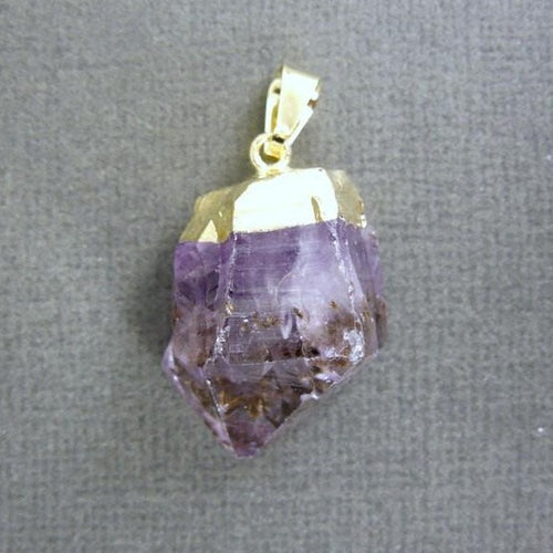 10 pcs Amethyst Point Pendant - Raw Amethyst with gold electroplated cap - BULK Lot of 10 (S122B3)