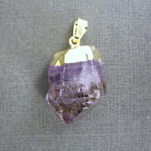 5 Pcs - Amethyst Point Pendant - Raw Amethyst with gold electroplated cap - BULK Lot of 5 (S122B3)