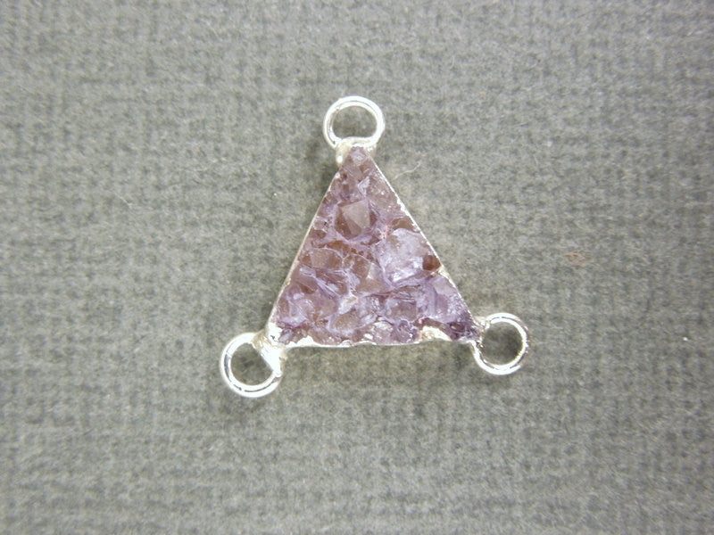 Druzy Druzzy Drusy Petite Triple Bail Triangle Charm Pendant with Silver Electroplated Edge