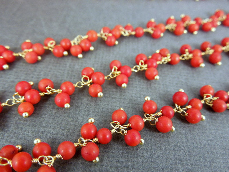 Red Coral Color Gold Wire Wrapped Chain-- 4mm Red Coral Dangle Chain-- by foot (CHN-53)