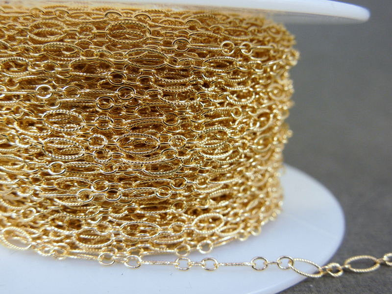 Gold Fill Chain- Gold Fill Textured Oval Chain Long and Short oval links -- 1 FOOT  (textured 716)