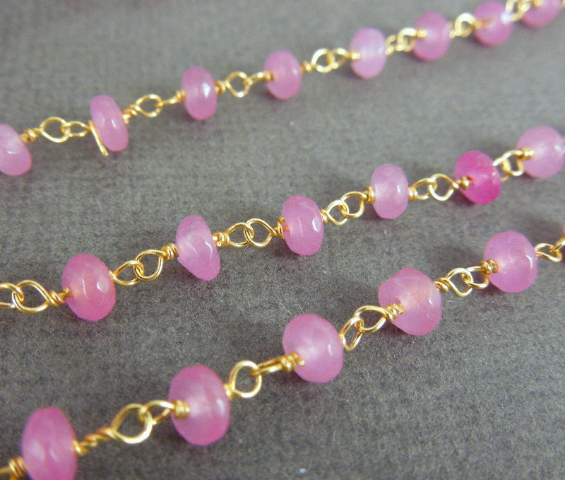 Hot Pink Chalcedony Wire Wrapped Beaded Chain - Gold Over Sterling Rosary Style Chain