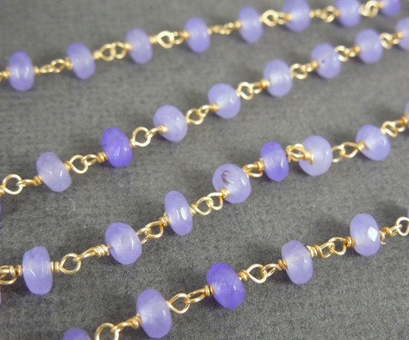 Lavender Chalcedony Wire Wrapped Beaded Chain - Gold over Sterling Rosary Style Chain
