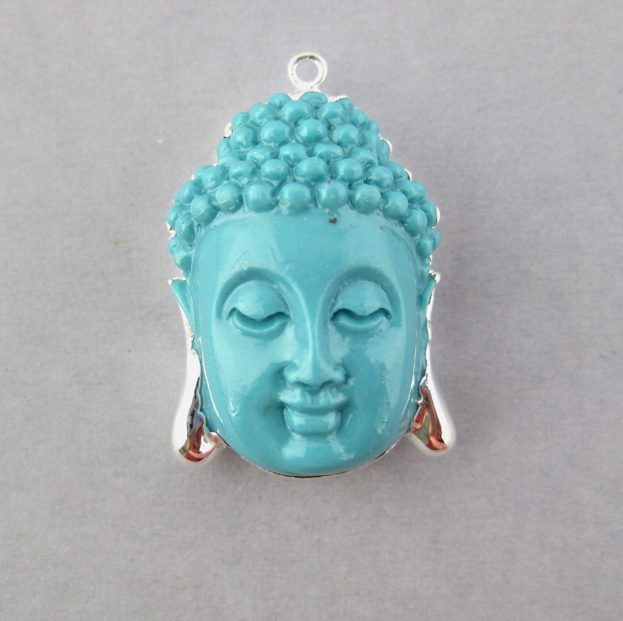 Turquoise Buddha Pendant with Silver Electroplated edge(S1B5-02)
