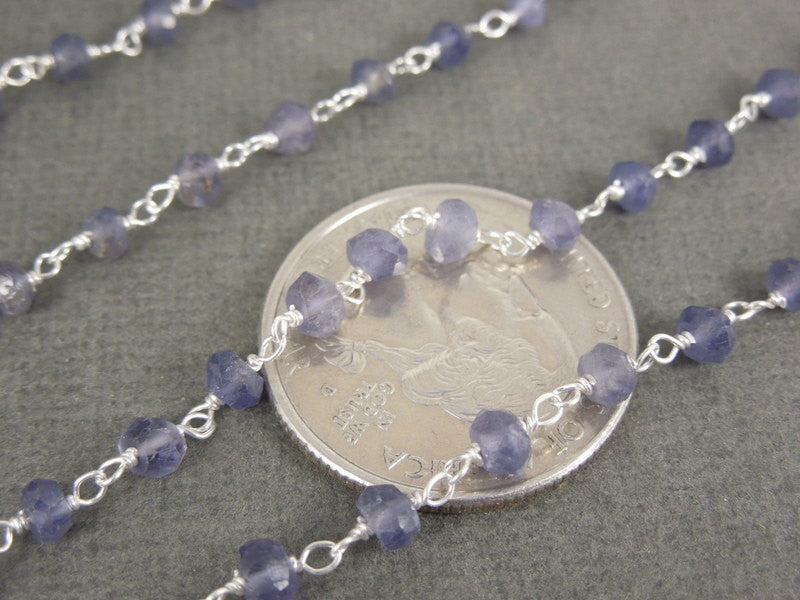 Iolite Wire Wrapped Beaded Chain - Iolite on Sterling Silver Rosary Style Chain