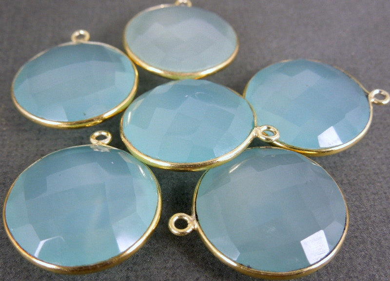 Aqua Blue Chalcedony Round Charm Pendant -19mm Gold over sterling Bezel Link - Pendant