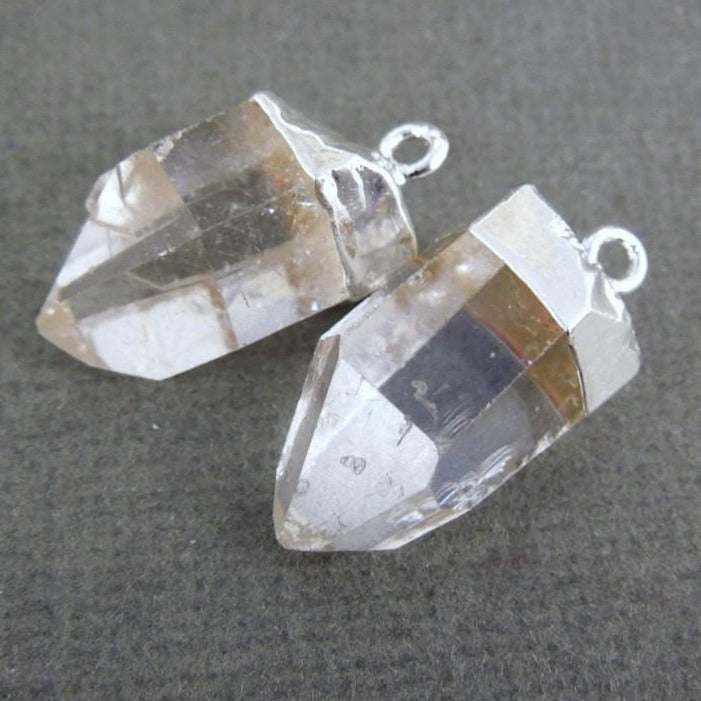 Crystal Quartz Point Pendant - Petite Charms with Silver Electroplated Cap (S35B8-07)
