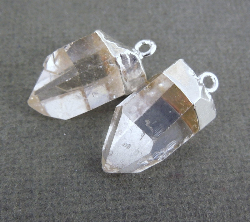 Crystal Quartz Point Pendant-- Petite Crystal Quartz Charms Pendants with Silver Electroplated caps-- 1 PAIR (S20B2-01)