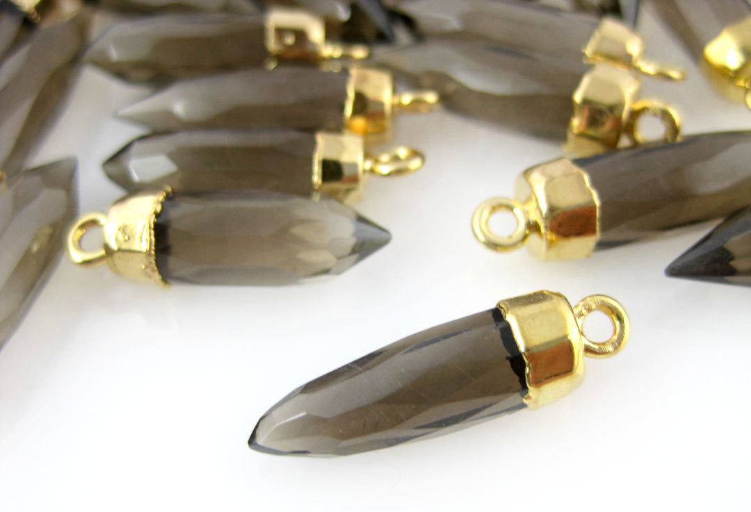 Smokey Quartz Petite Spike Pendant Charm with 24k gold electroplated cap