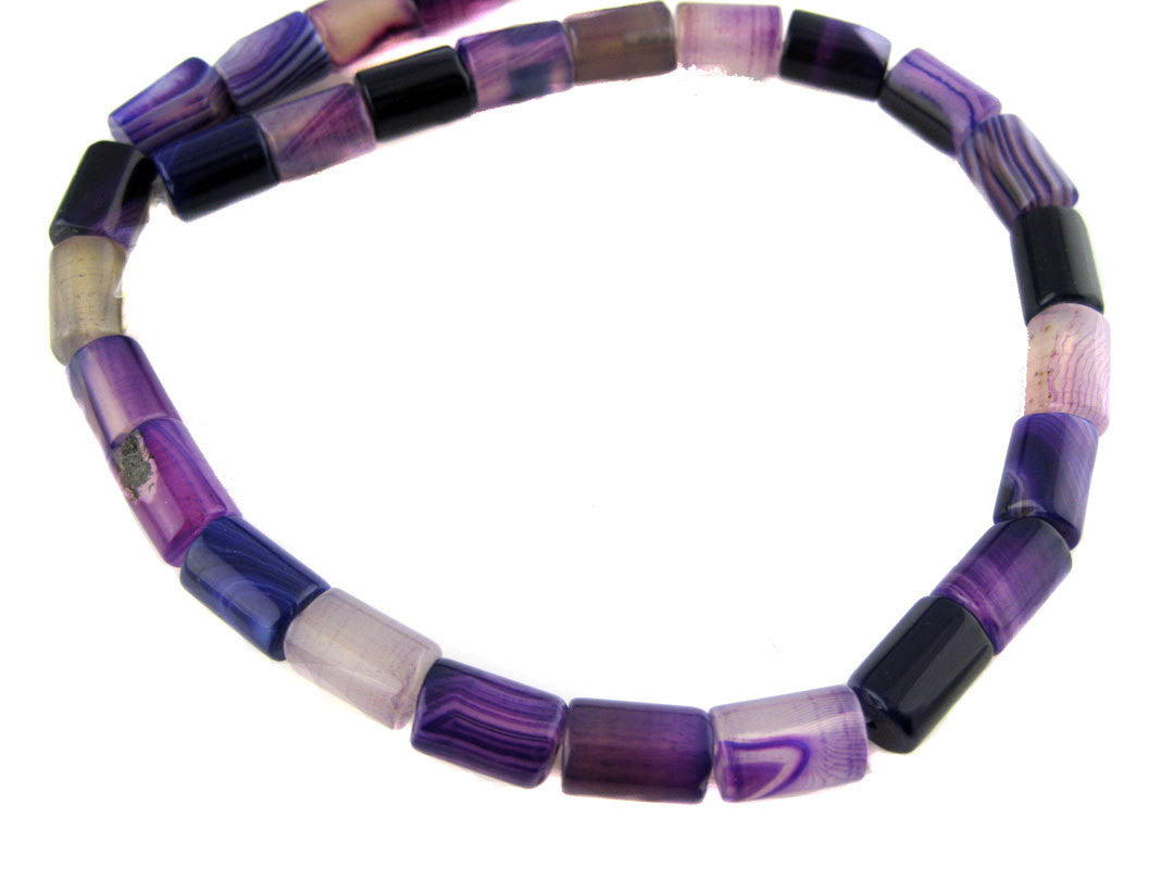 Agate Beads-- Purple Agate Tube Beads- FULL STRAND