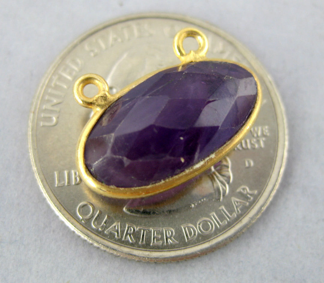 Bezel Connector- Amethyst Station Oval Connector- 16mm x 8mm Gold Vermeil Bezel Link - Double Bail Charm Pendant (S8B5-08)