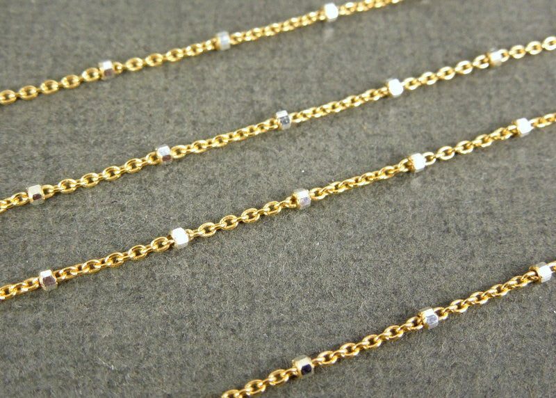 Gold and Silver Two-Tone Chain-- Gold and Silver Beaded Chain (bL-09)