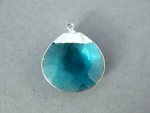 Blue Topaz Crystal Briolette Charm Pendant with Sterling Silver Electroplated Trim