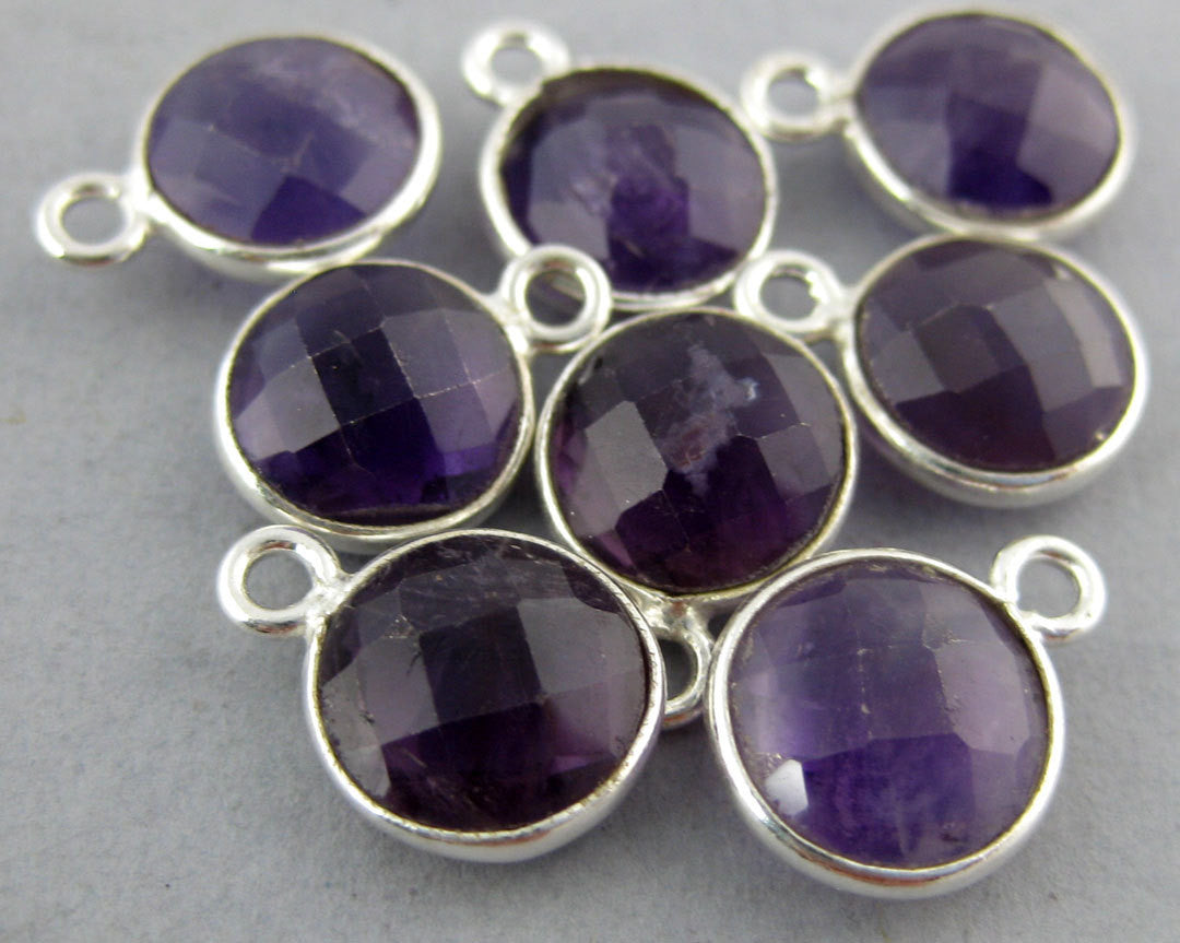 Amethyst Station Round Charm Pendant - 8mm Sterling Silver Bezel Charm Pendant